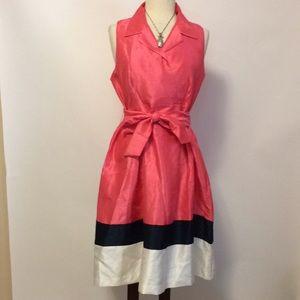 Jessica Howard Coral, Navy, White Dress Sz 12